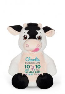 Personalised Soft Sensory Toy Cow Teddy